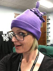Purple Fleece Hat on Attendee