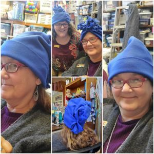 Makerpalooza - Attendees Modeling Fleece Hats